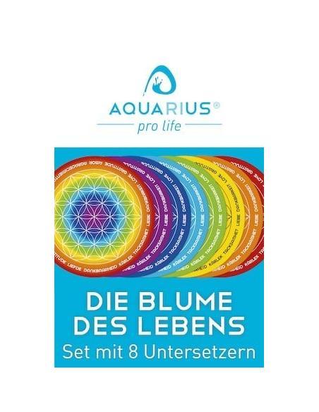 Die Blume des Lebens - Untersetzer-Set für Trinkbecher energetisieren und informieren mit der Blume des Lebens AQUARIUS pro life